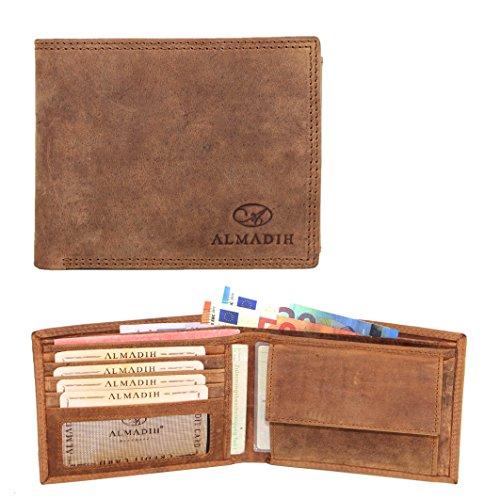 ALMADIH ® Slim Leder Portemonnaie aus Rindsleder querformat - Extra Schmal für die Gesäßtasche - 6 Kartenfächer Braun Antik P0Q - Herren Geldbörse in Geschenkbox Geldbeutel Brieftasche (P0Q Antik)