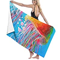 TZ Charming Maximum Softness 100% Polyester Cotton Bath Towels Colorful Under Sea Ocean Jellyfish Quick Dry Wash Cloths Yoga Towel Salon Towel Bath Sheets, Highly Absorbent Bath Sheets Towel 80x130cm