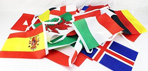EM 2016 Frankreich Wimpelkette 8m, Flaggenkette, Fahnenkette, Girlande, Europameisterschaft, Fussball, Fußball Party Fan EURO 2016 ALLE Manschaften