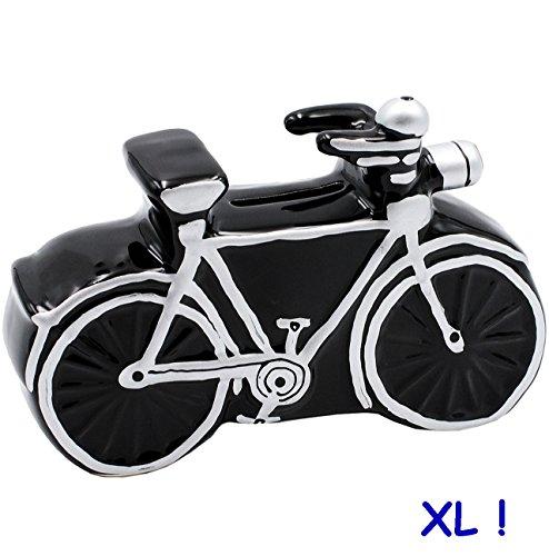 alles-meine.de GmbH große Spardose -  Fahrrad / Bike - E-Bike  - 17,5 cm - stabile Sparbüchse aus Porzellan / Keramik - Sparschwein - für Kinder & Erwachsene / Fahrradtour - FA..