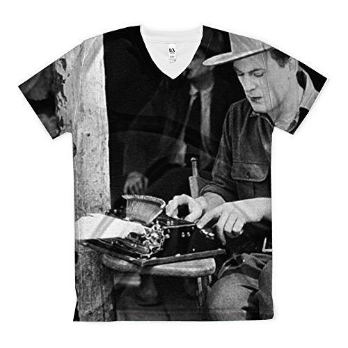 T-Shirt with a Man Typing in Five Sizes