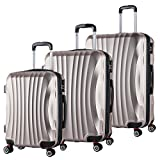 WOLTU RK4213ch, Reise Koffer Trolley Hartschale 4 Rollen Volumen erweiterbar, Reisekoffer Hartschalenkoffer Handgepäck, M/L/XL/Set, leicht und günstig, Champagne 3er Set (M+L+XL)