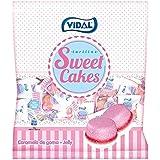 Vidal Golosinas Sweet Cakes. Caramelos de goma en forma de tartitas con delicioso sabor a fresa nata. Envuelta individual. Bo