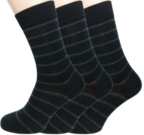 Loonysocks, trois paires de nos meilleures chaussettes en leine douce Ascona Merino pour l'homme d'affaires. Des chaussettes noires et grises pour homme. (43/46)