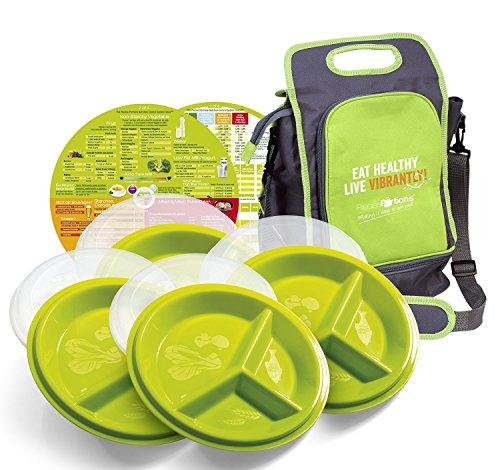 Präzise Portionen go-healthy Store N Go Travel Combo Pack–4Snap-Tight Teller, 4Deckel & A Lunchtasche (Methode Schale)