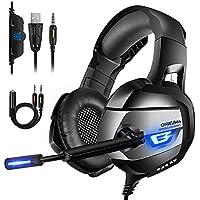 ONIKUMA Auriculares Gaming, Cascos Gaming con Micrófono Reducción de Ruido para PS4, Xbox One