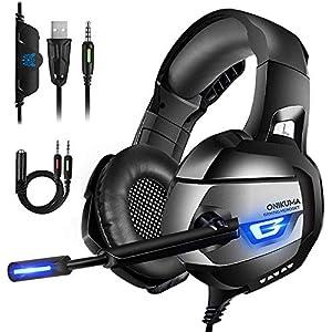 ONIKUMA Kopfhörer mit Rauschunterdrückungsmikrofon und 7.1-Sound für Videospiele PS4, Xbox One, Nintendo Schalter