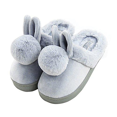 Kind Baumwolle Pantoffeln,Nette Karikatur Rabbit Hausschuhe/SlippersWinter Warme Plusch-Hausschuhe,Hausschuhe Indoor floor Anti-Rutsch-Hausschuhe Grau
