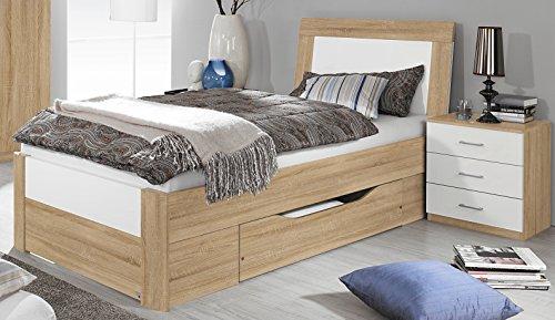 Rauch Bett mit 1 Schubkasten Eiche Sonoma/Hochglanz weiß 100 x 200 cm