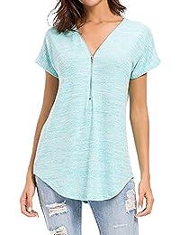 Damark(TM)))Ropa Camisetas Mujer, Camisas Mujer Verano Elegantes Casual Tallas Grandes Deporte Algodon Camisetas Mujer…