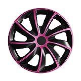 (Farbe & Größe wählbar) 15 Zoll Radkappen, Radzierblenden Quad Bicolor (Schwarz/Pink) passend für fast alle Fahrzeugtypen (universal)