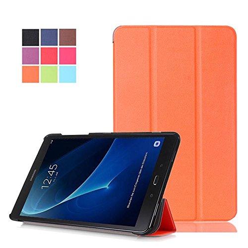 Samsung Tab A 2016 Hülle,PU Leder Case Cover und Back Schutzhülle für Samsung Galaxy Tab A (2016) SM-T580N/T585N 25,54 cm (10,1 Zoll) Tasche Leder Skin Hülle mit Magnetic Magnet und Standfunktion (Orange)