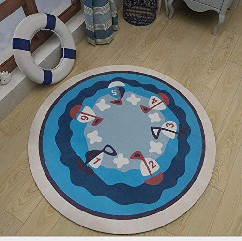 Zlxled tappeto rotondo tappeto di moquette cartoon tappeto carino barca bambino amore soggiorno cuscino per sedia da comodino decorazione120x120cm