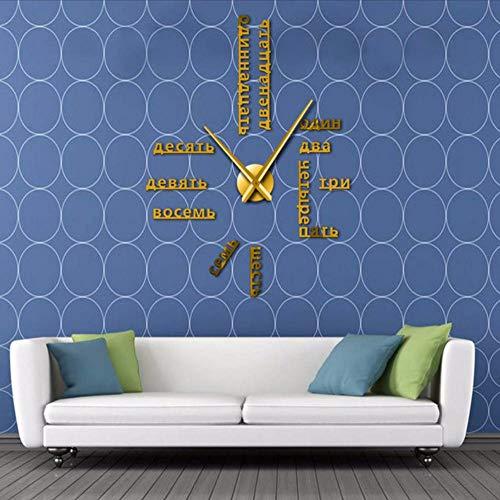 ganjue Langue Étrangère Bricolage Géant Horloge Murale Grand Chiffres Russes Soviétiques Grande Horloge Montre Chambre De Bébé Décoration Préscolaire Montre Russe Or 47 Pouces