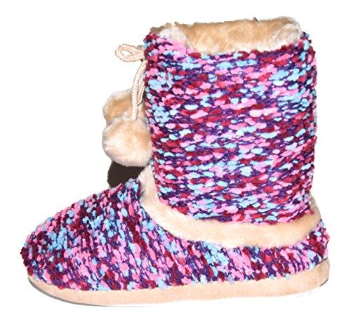 TMY- Damen Hüttenschuhe, wohlig warm mit bunten Textilmuster. Gr.: 37/38-41-42 Lila