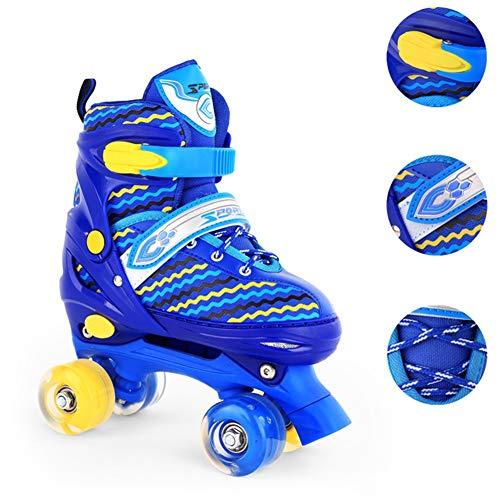 LRZ Rollschuhe Disco Roller Skate wie in den 80er Jahren, Jugend Rollschuhe, Kinder Quad Skate, 2 Verschiedene Farbvarianten, Einstellbare Größe des Schuhs,Blue,S