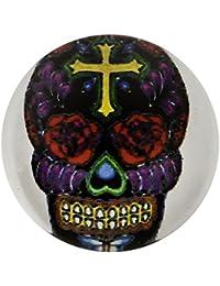 Morella unisex vidrio click-botón Carnaval calavera multicolour