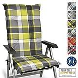 Beautissu Cojín para sillas de Exterior y jardín con Respaldo Alto Sunny GR Verde 120x50x6 cm tumbonas, mecedoras, Asientos cómodo Acolchado Resistente a Rayos UV