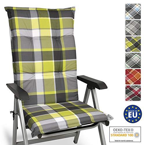 Beautissu Cojín para sillas de Exterior y jardín con Respaldo Alto Sunny GR Verde 120x50x6 cm tumbonas...