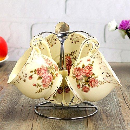 7PCS Royal Bone Keramik Kaffeetassen, hoyoo, Vintage China Porzellan rot Tea Cup, elegante Keramik Kaffee Tasse und Untertasse, Tee Tasse Disc Nachmittag mit Löffel, 200ml Rich Peony -