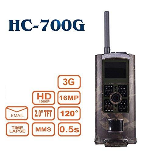 3G 2G 16MP Full HD Wildkamera HC-700G 48 Black LED 0,5 Sek Trigger 120° Fotofalle Überwachungskamera 3G 2G GSM MMC SMTP SMS Kamera