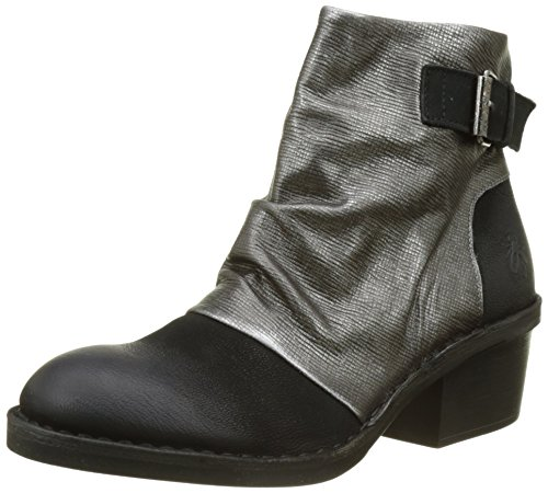 Fly London Dape897fly, Botas para Mujer, Negro Black/anthracitesilver, 42 EU