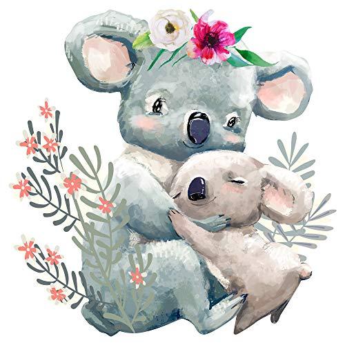 dekodino® Wandtattoo Aquarell Koala Mama mit Baby und Blumen Kinderzimmer Deko -