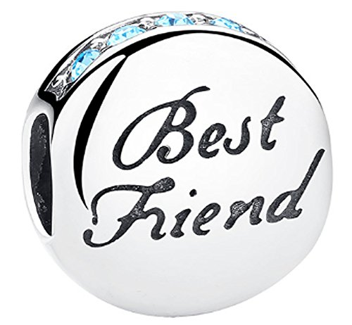 SaySure - 925 Sterling Silver Best Friend Charm Beads with Blue CZ