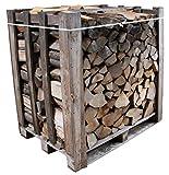550 kg Brennholz Kaminholz Eiche auf 1 Raummeter Palette, Eichenholz geschichtet und gespalten, ofenfertiges Feuerholz kammergetrocknet mit geringer Restfeuchte (15-20%), ca. 33 cm Holzscheit Länge