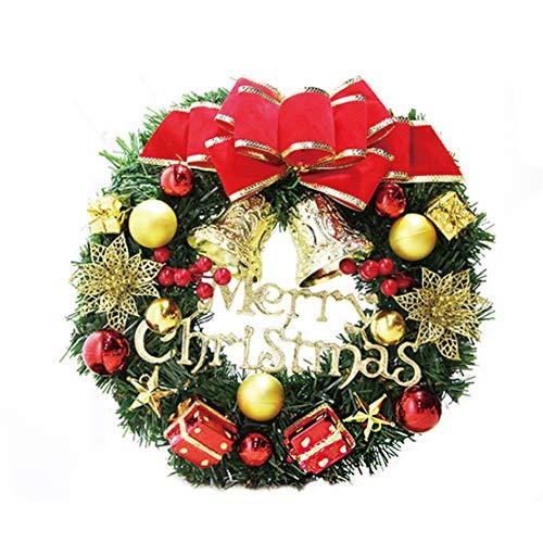 Happy Event Christmas Weihnachten Thanksgiving Deco Ornament | 30cm Simulation Rattan Roter Blumenbogen Kränze Girlanden Blumenketten | Dekorativer Kranz Schöne Deko für Wand, Tür und Tisch -