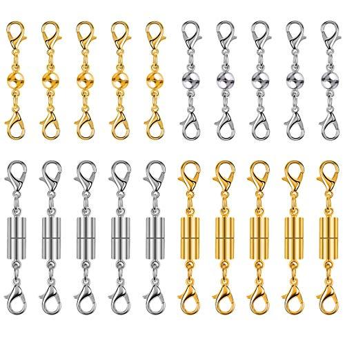 FineInno 20Stück Schmuck Magnetverschlüsse Verschluss Halskette Extender Magnet Kettenverschluss Jewelry Clasps für DIY, Armband, Halskette Making