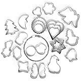 COM-FOUR® 26-teiliges Plätzchen Ausstechformen Set aus Metall mit weihnachtlichen Motiven (26 Stück - Set6)