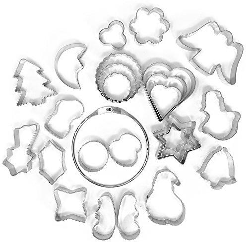 9148c65b2931e COM-FOUR® Juego de cortadores de galletas de 26 piezas Juego de metal.