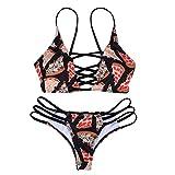 ReooLy Bañador para Mujer Bikini con Vendaje Conjunto Push-up Sujetador con Relleno Traje de baño Traje de baño (M