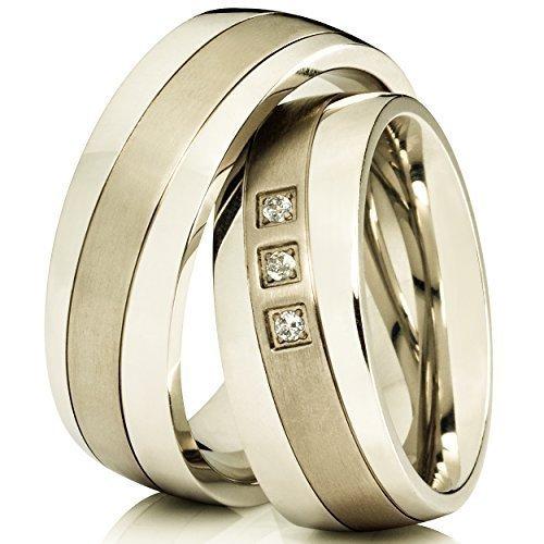 2 Silberfarbene Trauringe Eheringe Verlobungsringe aus Titan mit Kostenloser Lasergravur & 3 Zirkonia im Damenring