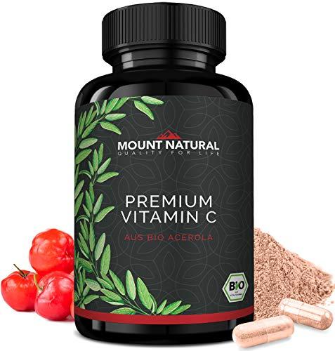 Bio Vitamin C Aus Natürlichem Bio Acerola Extrakt - 240 Vegane Kapseln Für 4 Mo + Natürliche Flavonoide & Laborgeprüft Aus Deutschland