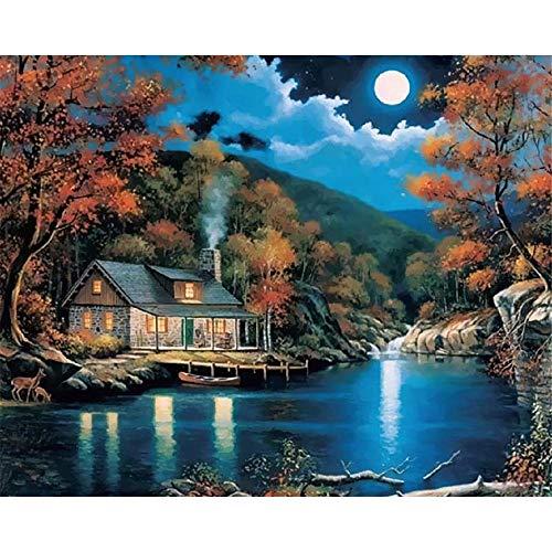WFYY Malen Nach Zahlen Erwachsene Roter Baum des Späten Nachthellen Mondhauses Auf Segeltuchgeschenken Handgemalte Digitale Bilder 16X20 Inch Ohne Rahmen