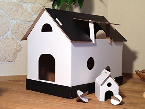 Katzenhaus schwarz/weiß aus Wellpappe, Katzenkorb, Katzenhöhle