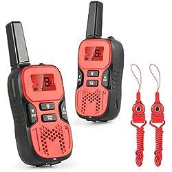 Walkie Talkie,Abask R8 Walkie Talkie Inelámbrico de Dos Vías de Los Niños,0.5W Pantala Retroiluminada LCD 8 Canales 5KM Rango y Linterna Incorporada(2PC Rojo)