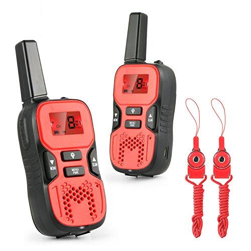 Abask Talkies Walkies Enfant Jeu Électronique LCD Écran Torch Intégré 8 Canaux Portée jusqu'à 5km VOX Lampe de Poche Pour Enfant (1 Paire ) Rouge