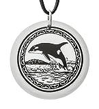 Fait à la main Pendentif en porcelaine en forme en rond de Totem orque (sur cordon noir)