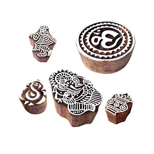 Royal Kraft Indisch Entwürfe Religiös und Ganesha Holz Blöcke für Drucken (Set von 5)