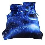 Juego de Funda Nórdica 3D Galaxia Diseño de Moda con Fundas de Almohada Juego de funda de Cama Nórdica Juego de Fundas de Edredón con Cremallera 100% Microfibra de Poliéster (Galaxia 3)