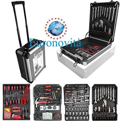 Cassetta degli attrezzi da lavoro completa valigia in alluminio trolley kit porta attrezzi utensili 15093