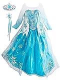 FStory&Winyee Kinder Prinzessin ELSA Kleid Mädchen Eiskönigin Kostüm Set Diadem Zauberstab Frozen Cosplay Party Verkleidung Karneval Weihnachten Geburtstag Fasching Geschenk Blau Schneeflocke 100-150