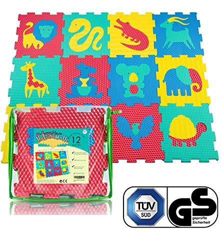 Hakuna Matte Puzzlematte für Babys - TÜV SÜD GS Zertifiziert - 12 Fliesen mit Tieren in Einer Aufbewahrungstasche - 20{b89248e8735ec15e9027bf4f6407153f378b31bf719cb717933b9db1a59eb2be} dickere Spielmatte - 4 Oberflächentypen - 1,2x0,9m, Vergleichsieger 2018*