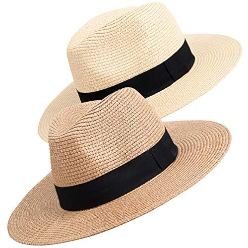 Maylisacc Panama Hut Unisex Stroh Sonnenhut Sommer Fedora Beach Hut für Männer Frauen - 2 Stück - Frauen Hut -
