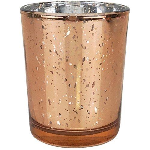 Just Artefakte Quecksilber Glas Votiv Kerzenhalter 7cm H gesprenkelt Rose Gold-Quecksilber Glas Kerzenhalter für Hochzeiten und Home Décor-Variation rose gold