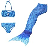 DecStore Costume stabilito del bikini dello Swimwear della coda della sirena del costume da bagno delle 3PCS delle ragazze per nuoto(Buio Blu 130)