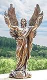 Deko Figur Engel Statue Metatron Engelfürst aus Polystein bronze braun, Höhe 37 cm, Zauberwelt Schutzengel Dekofigur Gartenfigur